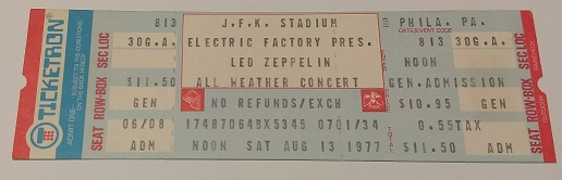 """J  F  K  Stadium August 13, 1977 Unused """"All Weather Concert"""